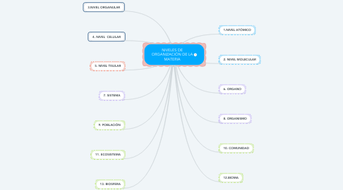 Mind Map: NIVELES DE ORGANIZACIÓN DE LA MATERIA