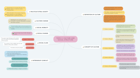 Mind Map: TOPIC 2- CULTURE AND SOCIAL STRUCTURE