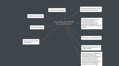 Mind Map: Circular 022 y 061 del 2007 de la superfinanciera