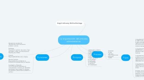 Mind Map: La organización del proceso administrativo