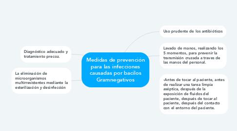 Mind Map: Medidas de prevención para las infecciones causadas por bacilos Gramnegativos