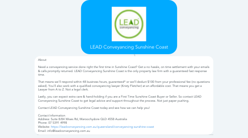 Mind Map: LEAD Conveyancing Sunshine Coast
