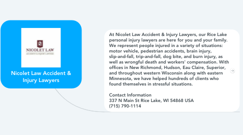Mind Map: Nicolet Law Accident & Injury Lawyers
