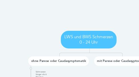 Mind Map: LWS und BWS Schmerzen 0 - 24 Uhr