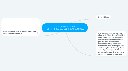 Mind Map: Delta Airlines Check-in Policy  +1-855-653-0624  USA  GEORGIA