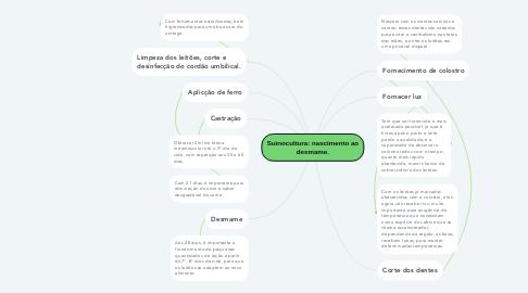 Mind Map: Suinocultura: nascimento ao desmame.