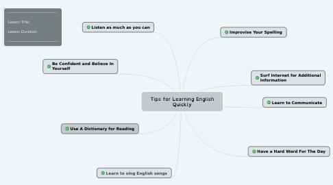 Mind Map: Tips for Learning English Quickly