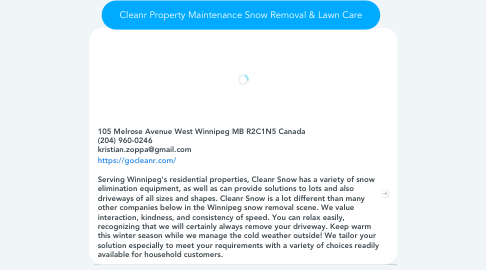 Mind Map: Cleanr Property Maintenance Snow Removal & Lawn Care