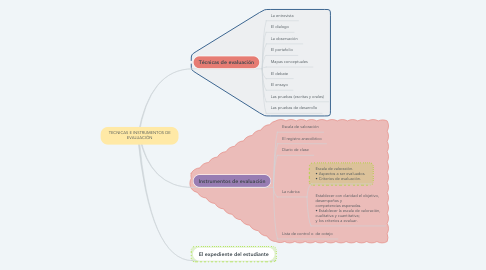 Mind Map: TECNICAS E INSTRUMENTOS DE EVALUACIÓN