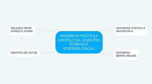 Mind Map: GEOGRAFIA POLÍTICA E GEOPOLÍTICA: QUESTÕES TEÓRICAS E  EPISTEMOLÓGICAS.