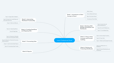 Mind Map: Learn Professional Excel