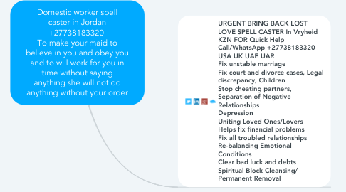 Mind Map: Domestic worker spell caster in Jordan +27738183320  To make your maid to believe in you and obey you and to will work for you in time without saying anything she will not do anything without your order