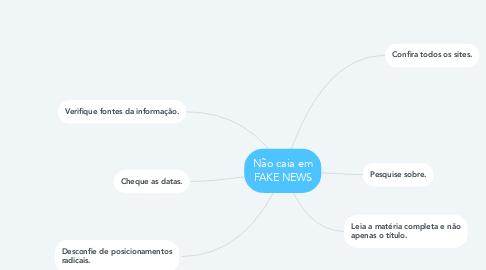 Mind Map: Não caia em FAKE NEWS