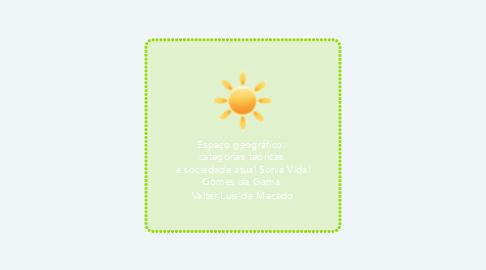 Mind Map: Espaço geográfico:  categorias teóricas  e sociedade atual Sonia Vidal Gomes da Gama  Valter Luiz de Macedo