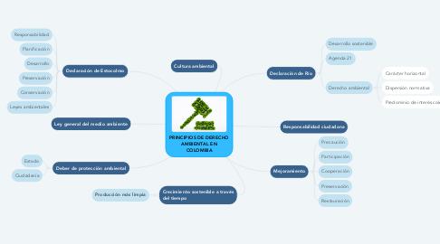 Mind Map: PRINCIPIOS DE DERECHO AMBIENTAL EN COLOMBIA