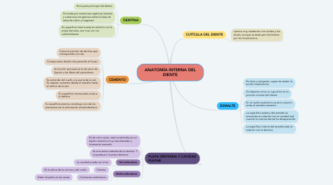 Mind Map: ANATOMÍA INTERNA DEL DIENTE