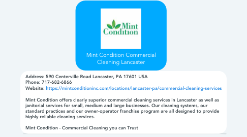 Mind Map: Mint Condition Commercial Cleaning Lancaster