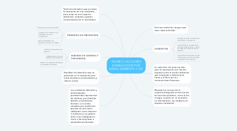 Mind Map: PLANES Y ACCIONES ESTABLECIDOS POR MEDIO AMBIENTE Y SST