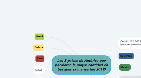 Mind Map: Los 5 países de América que perdieron la mayor cantidad de bosques primarios (en 2019)