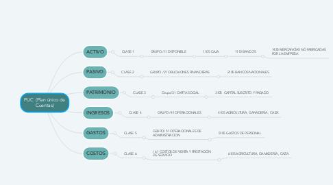 Mind Map: PUC  (Plan único de Cuentas)