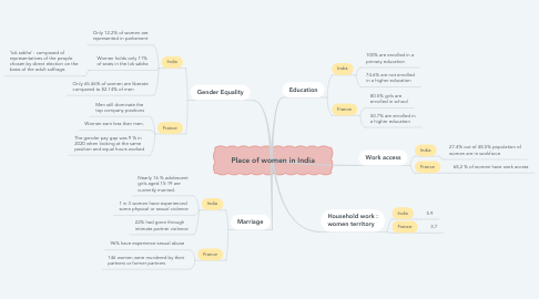 Mind Map: Place of women in India