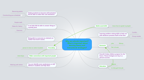 Mind Map: Why are schools important?   What is important about learning theory and instructional strategies?