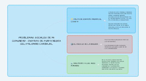 Mind Map: PROBLEMAS SOCIALES DE MI COMUNIDAD - DISTRITO DE PUNTA NEGRA CELI PALOMINO CARBAJAL