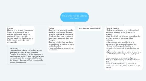 Mind Map: Funciones reproductoras del útero