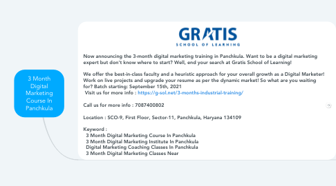 Mind Map: 3 Month Digital Marketing Course In Panchkula