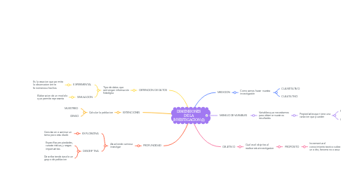 Mind Map: DIMENSIONES DE LA INVESTIGACION (1)
