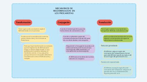 Mind Map: MECANISMOS DE RECOMBINACION  EN LOS PROCARIOTAS