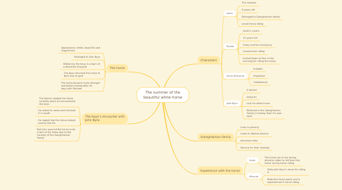 Mind Map: The summer of the beautiful white horse