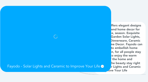 Mind Map: Fayodo - Solar Lights and Ceramic to Improve Your Life