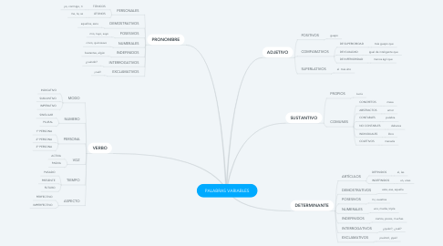 Mind Map: PALABRAS VARIABLES