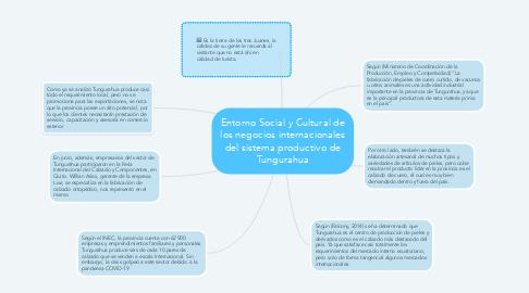 Mind Map: Entorno Social y Cultural de los negocios internacionales del sistema productivo de Tungurahua