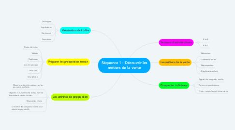 Mind Map: Séquence 1 : Découvrir les métiers de la vente