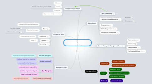 Mind Map: Chapter 1: The Management Process Today