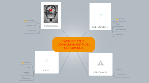 Mind Map: FACTORES EN EL COMPORTAMIENTO DEL CONSUMIDOR