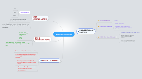 Mind Map: WHAT WE LEARNT