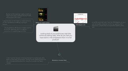 Mind Map: Looking back at your preliminary task (the continuity editing task), what do you feel you have learnt in the progression from it to full product?