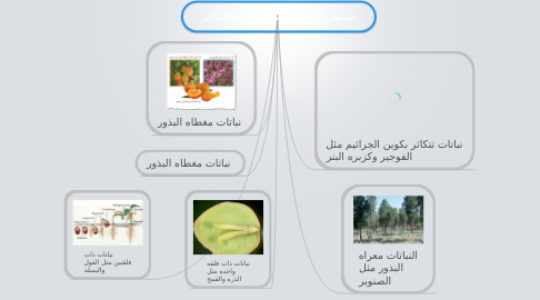 Mind Map: تصنيف النباتات حسب طريقه التكاثر