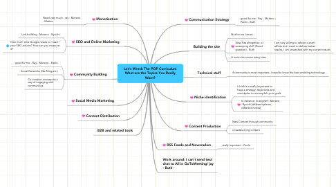 Mind Map: Let's Wreck The POP Curriculum What are the Topics You Really Want?