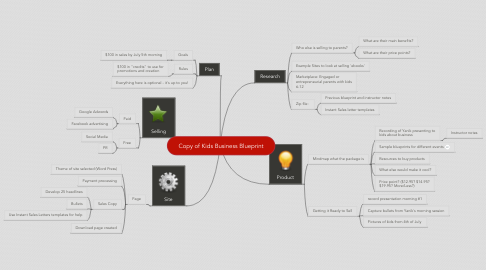 Mind Map: Copy of Kids Business Blueprint