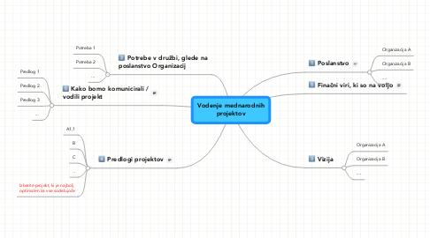 Mind Map: Vodenje mednarodnihprojektov