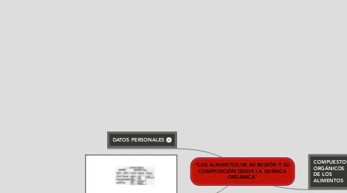 """Mind Map: """"LOS ALIMENTOS DE MI REGIÓN Y SU COMPOSICIÓN DESDE LA QUÍMICA ORGÁNICA"""""""