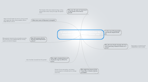 Mind Map: In what ways did Greek Culture  form from the interaction of the  Mycenaean, Minoan, and Dorian Cultures?