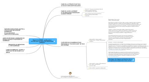 Mind Map: Rapport du CNNUM : quelles actions concrètes pour les acteurs des bibliothèques publiques?