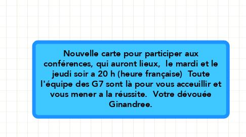 Mind Map: Nouvelle carte pour participer aux conférences, qui auront lieux,  le mardi et le jeudi soir a 20 h (heure française)  Toute l'équipe des G7 sont là pour vous acceuillir et vous mener a la réussite.  Votre dévouée Ginandree.