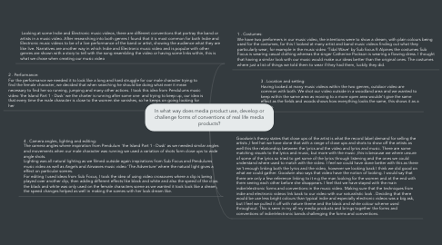Mind Map: In what way does media product use, develop or challenge forms of conventions of real life media products?