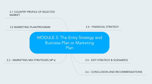 Mind Map: MODULE 3: The Entry Strategy and Business Plan or Marketing Plan